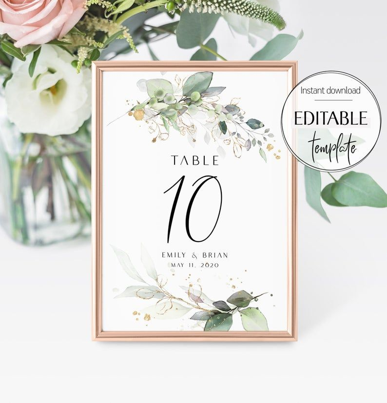 Burgundy Table Number Template, Wedding Table Number Sign