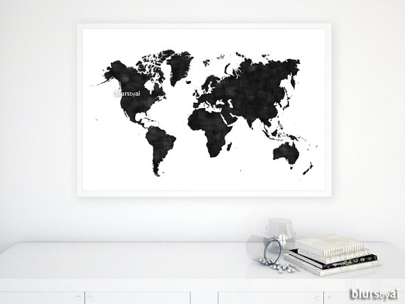 36x24 Printable World Map Black White Wall Art Black Map Distressed Vintage Texture Map Poster Fathers Navy Blue Wall Art Travel Wall Art Gold World Map