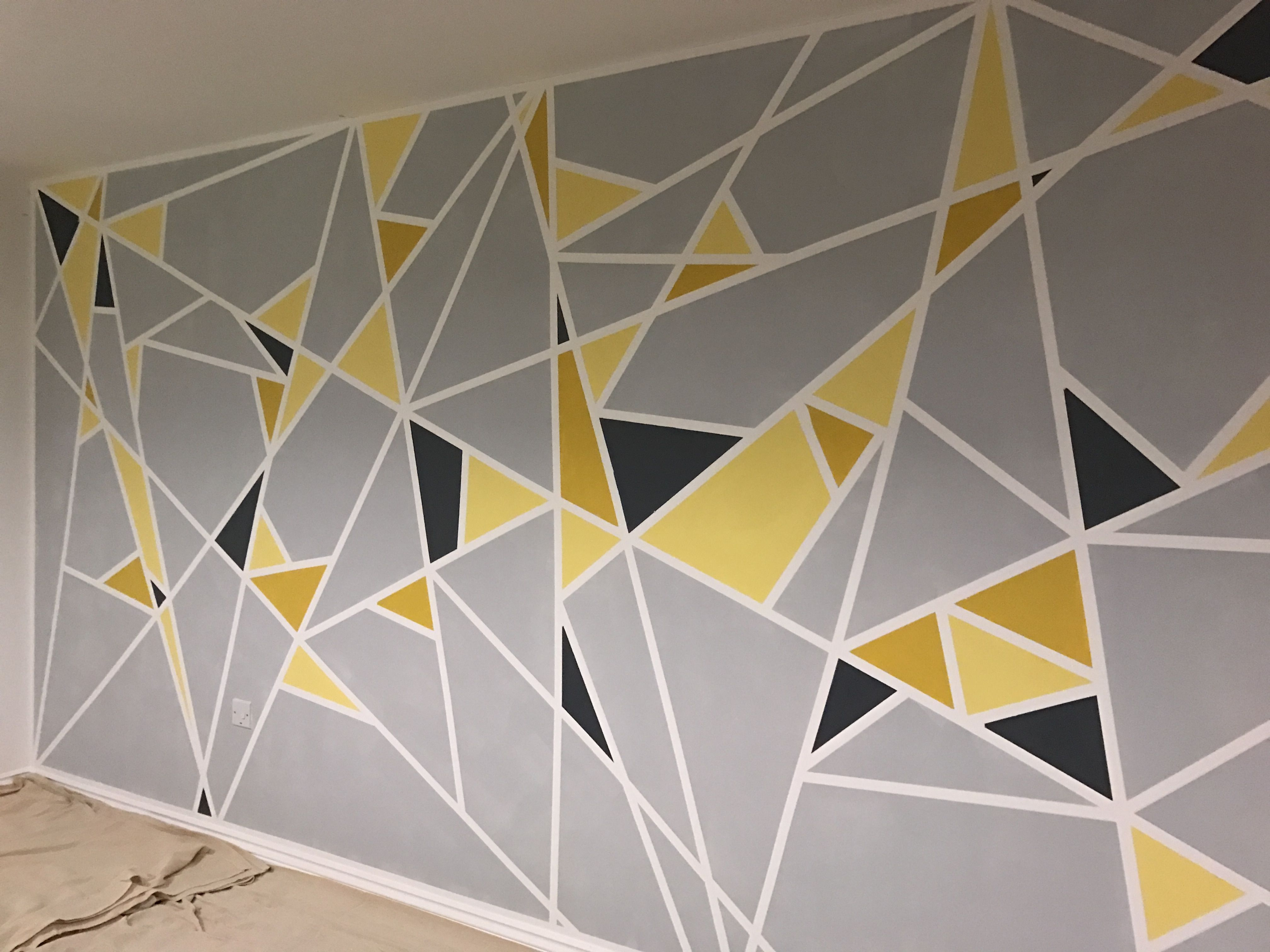 Geometric Painted Wall Shades Of Yellow And Grey With Masking