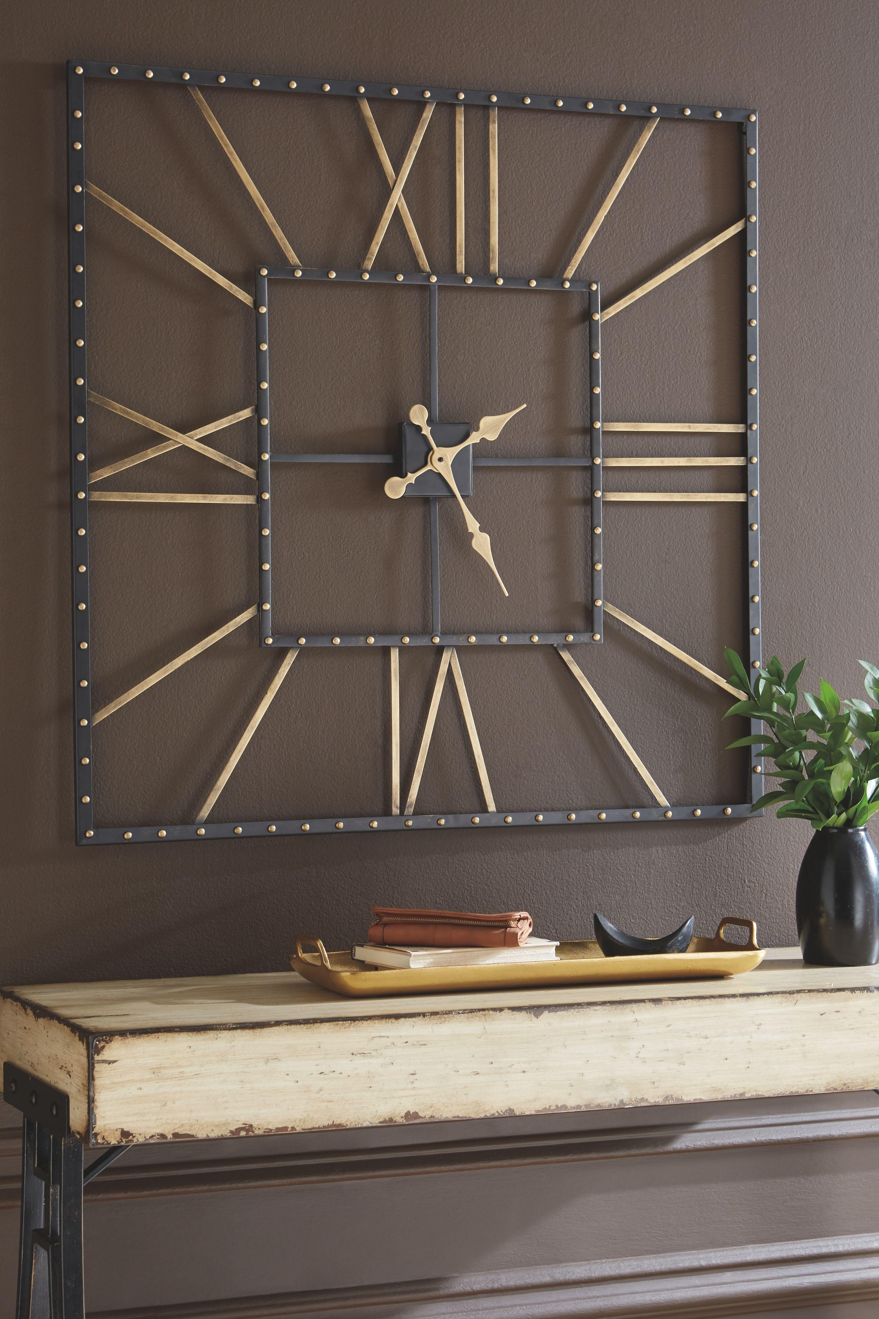 Thames Wall Clock Black Gold Finish Big Wall Clocks Clock Decor