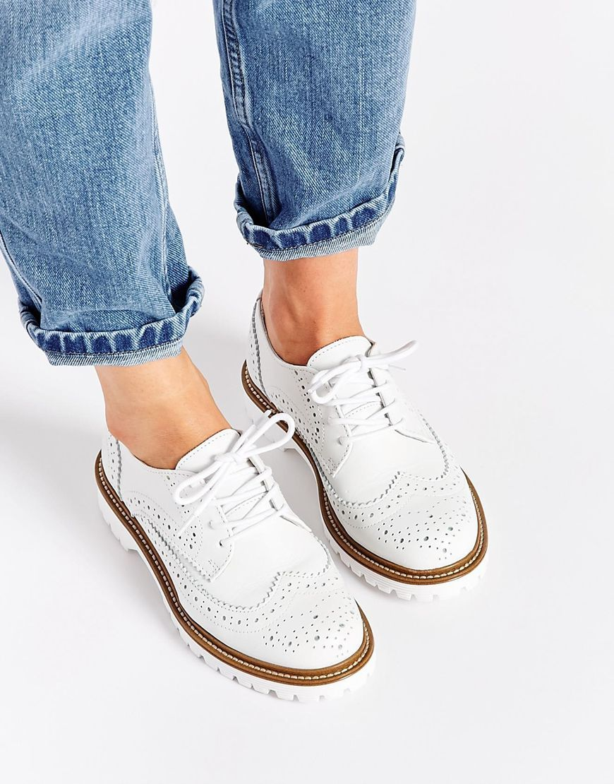 Bronx Leather White Brogue Flat Shoes