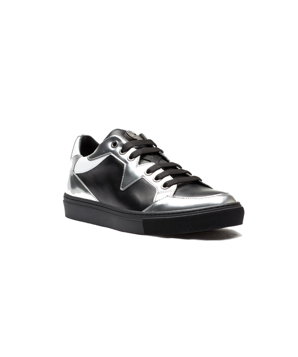 VERSACE VERSACE COLLECTION MEN'S LEATHER MEDUSA LOW TOP SNEAKER SHOES BLACK  SILVER WHITE'. #