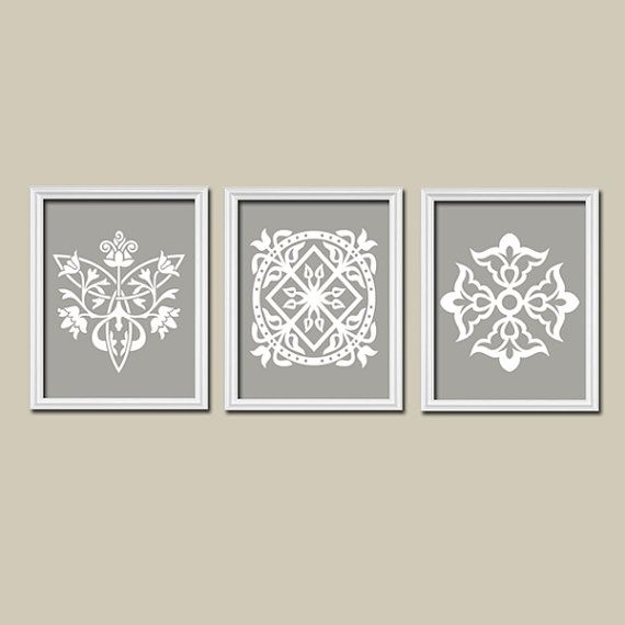 Grey Gray White Ornament Design Artwork Set Of 3 Trio Prints Bedroom Kitchen Bathroom Wall Decor Ab Bedroom Wall Art Canvas Damask Wall Art Wall Decor Pictures