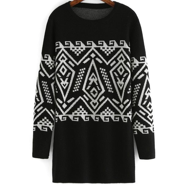 Tribal Print Loose Sweater Dress (270 ARS) ❤ liked on Polyvore featuring dresses, black, black mini dress, long sleeve sweater dress, loose sweater dress, black sleeve dress and loose dress