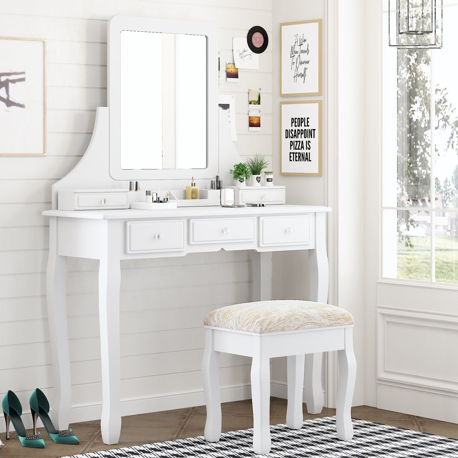 Makeup Vanity Table and Cushioned Stool Set, Dressing Table with 5 Storage Drawers, Bedroom Vanity Desk with Mirror for Women Girls - White