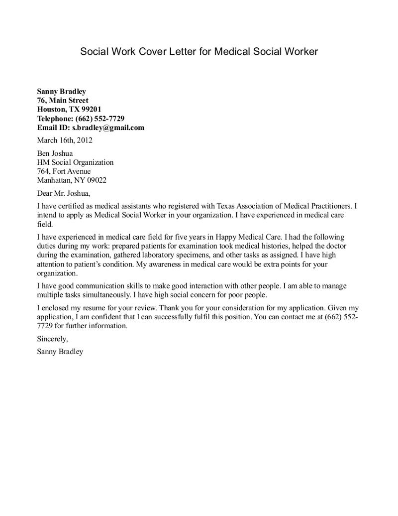 Social Work Cover Letter Sample For Medical Social Worker » Social ... Find  Local