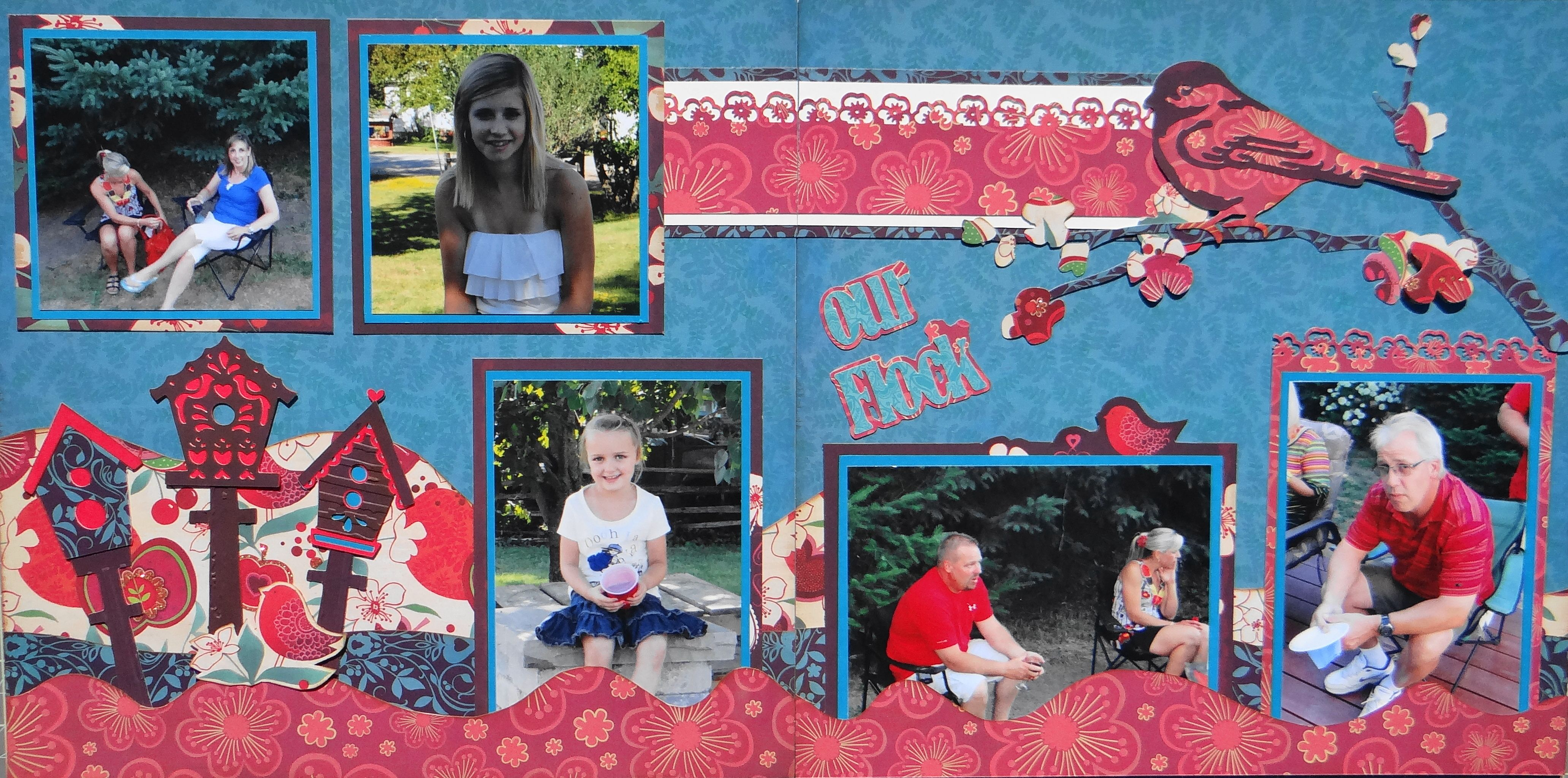 Family scrapbook ideas on pinterest - Scrapbook Page Our Flock 2 Page Family Layout After A Backyard Get Together