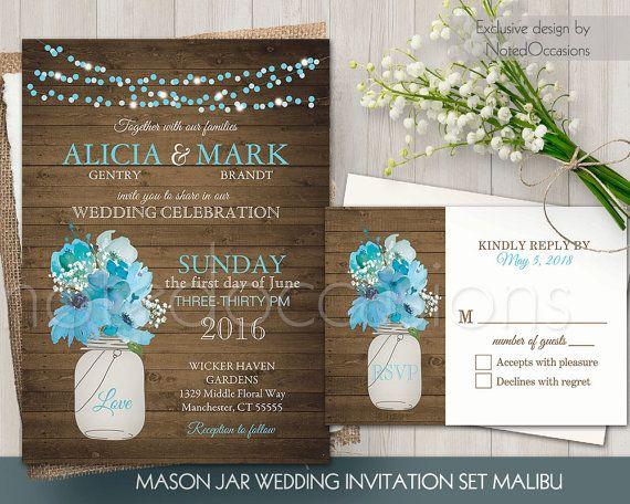 Mason Jar Wedding Invitation Set Rustic Mason Jar Country Wedding Invitations Turquo Mason Jar Wedding Invitations Rustic Wedding Blue Blue Wedding Invitations