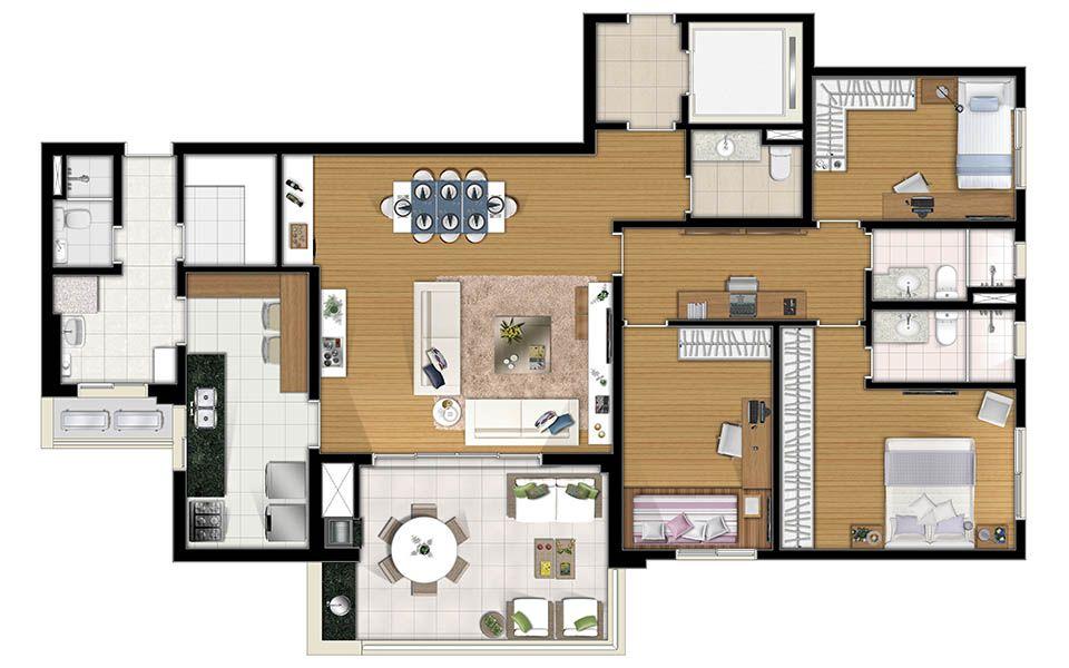 Bossa Nova Projeto De Apartamento Plantas Apartamento E