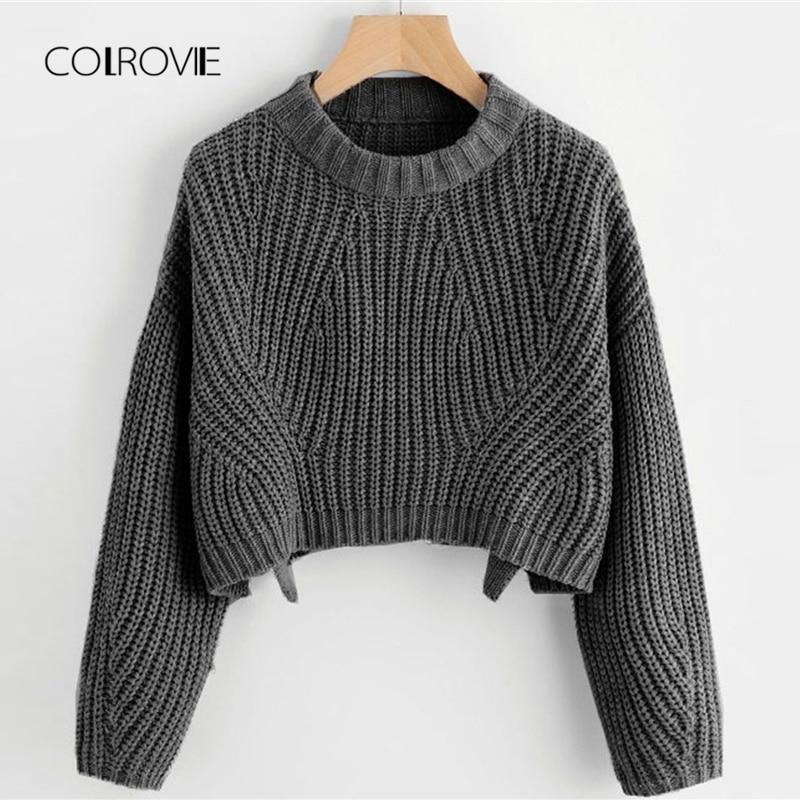 COLROVIE Split Solid Korean Elegant Crop Grey Swea
