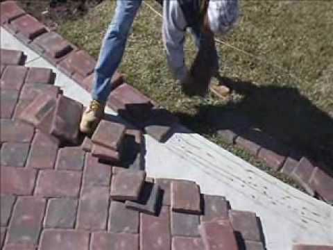 Paver Installation On Concrete Using Mason Bond Brick Paver