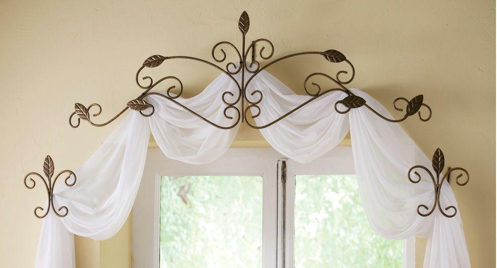 Antique Gold Metal Scroll Leaf Design Window Curtain Scarf Hanger