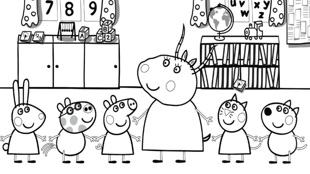 Madame Gazelle With Peppa Pig Coloring Page Peppa Pig Colouring Peppa Pig Coloring Pages School Coloring Pages