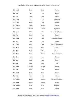 Lista de los 100 verbos irregulares más usados en ingles verbs - verbs list
