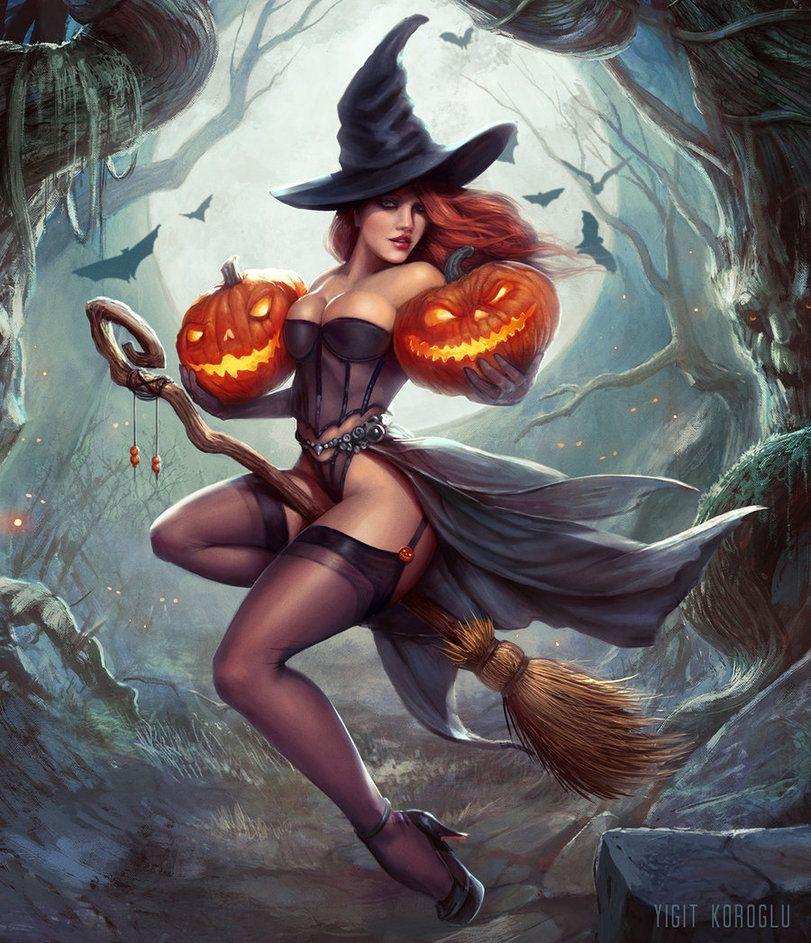 Картинки фэнтези ведьмочки на метле