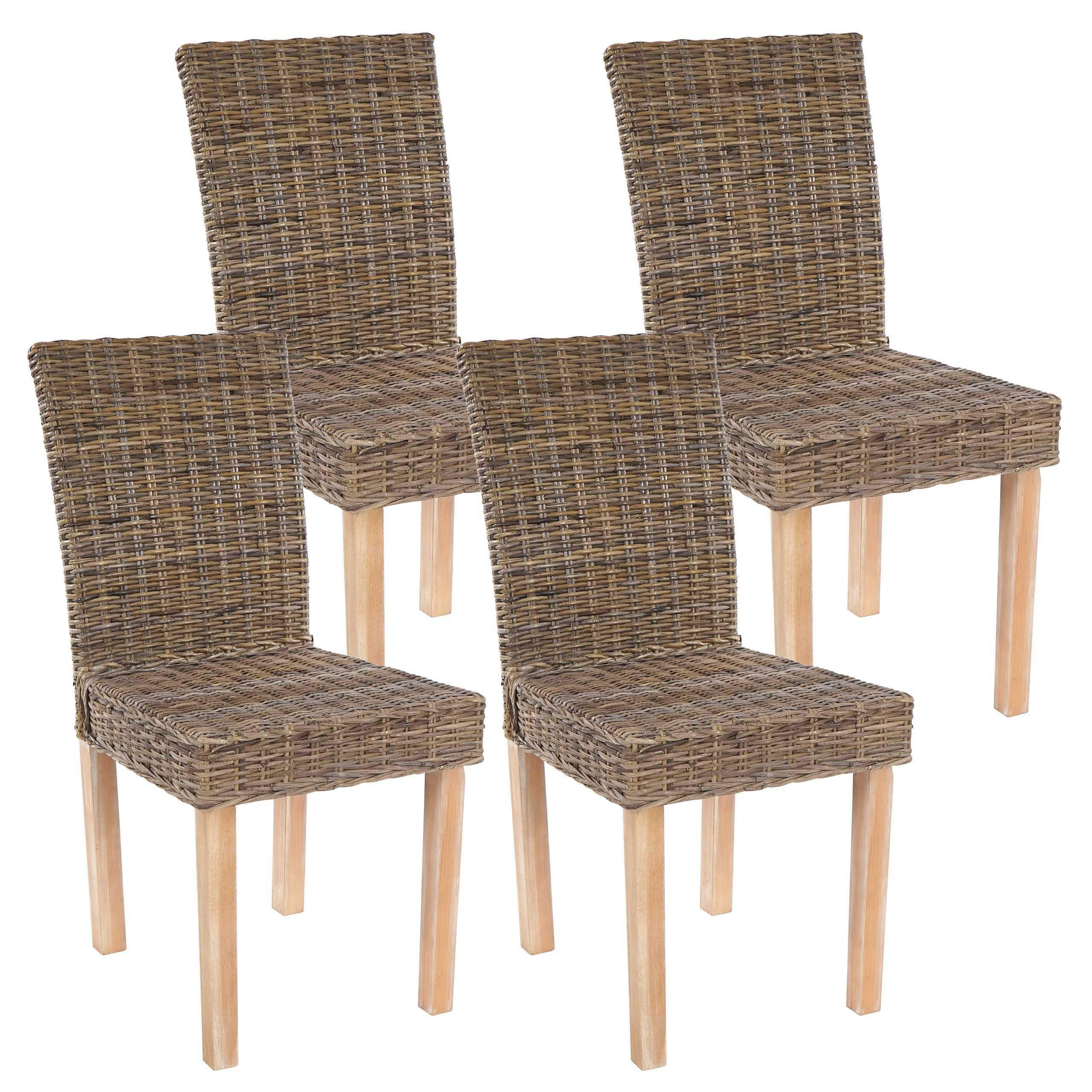 Lote 4 Sillas de Comedor LUCA, En Poly Rattan, Color Gris natural ...