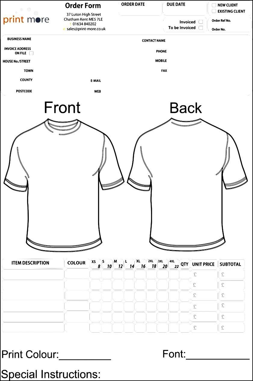 Blank Clothing Order Form Template  Besttemplates  Sample