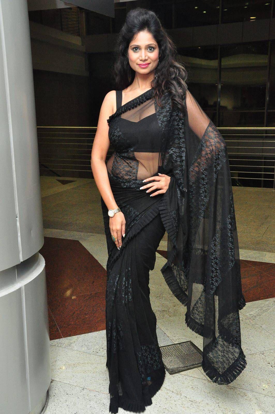 Black colour saree images tollywood actress mehek in transparent plain black colour saree with