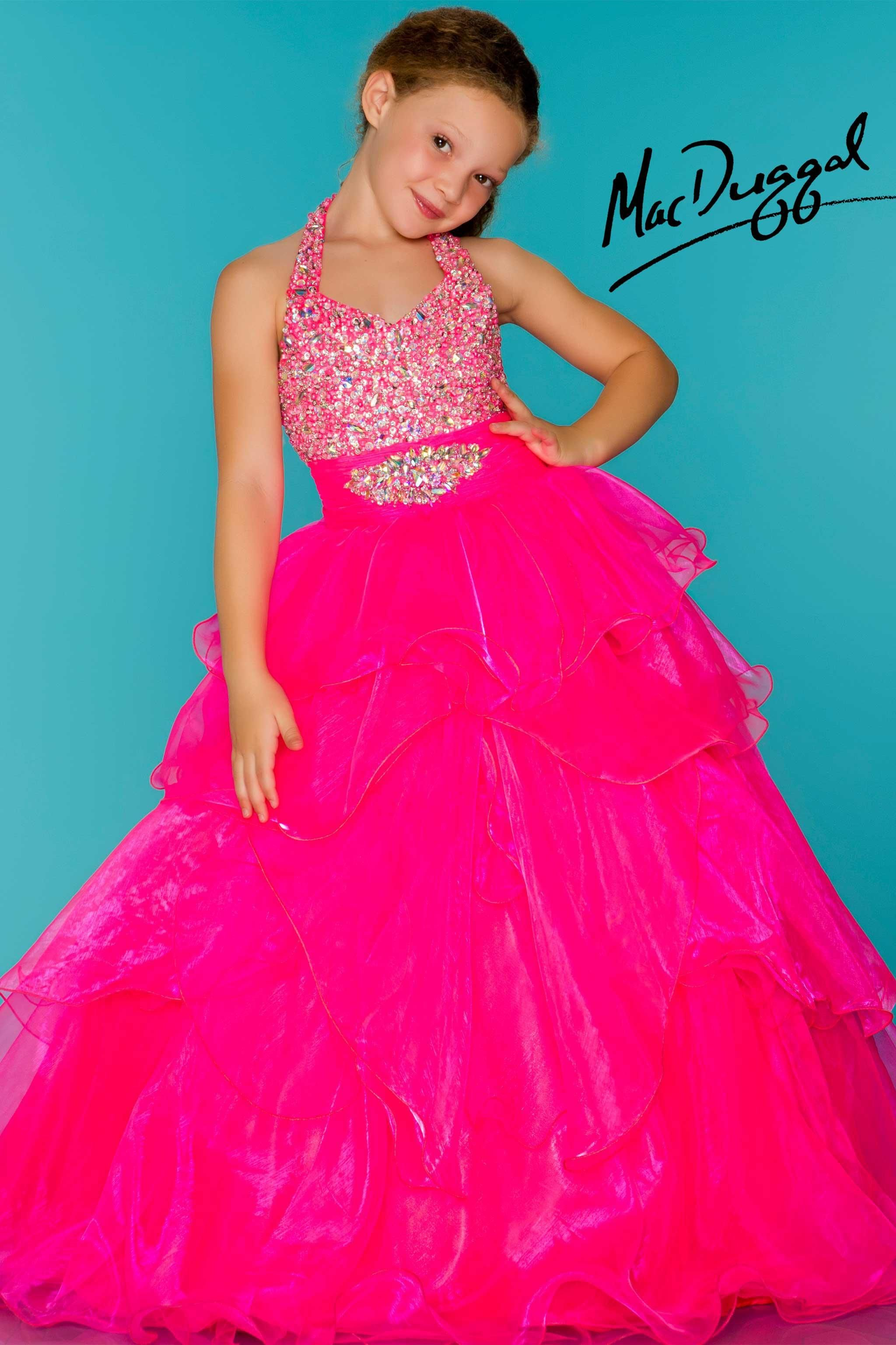 Neon Pink Little Girls Pageant Dress | Glitz and Glam | Pinterest