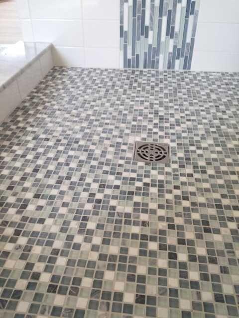 Waterfall Mosaic Shower Pan Detail