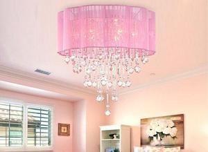Pink Drum Shade Crystal Ceiling Chandelier Pendant Light Fixture