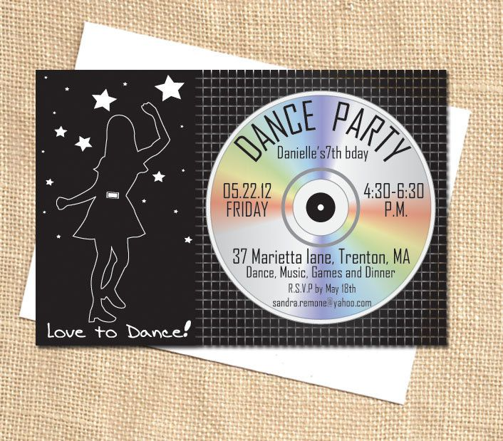 printable diy custom dance party disco party invite pdf file, Birthday invitations