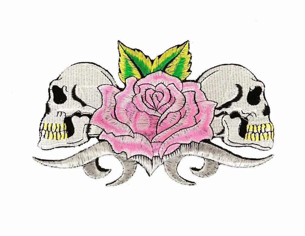 "Pink Rose Skulls Embroidered Patch 7"" Iron On Skeleton"
