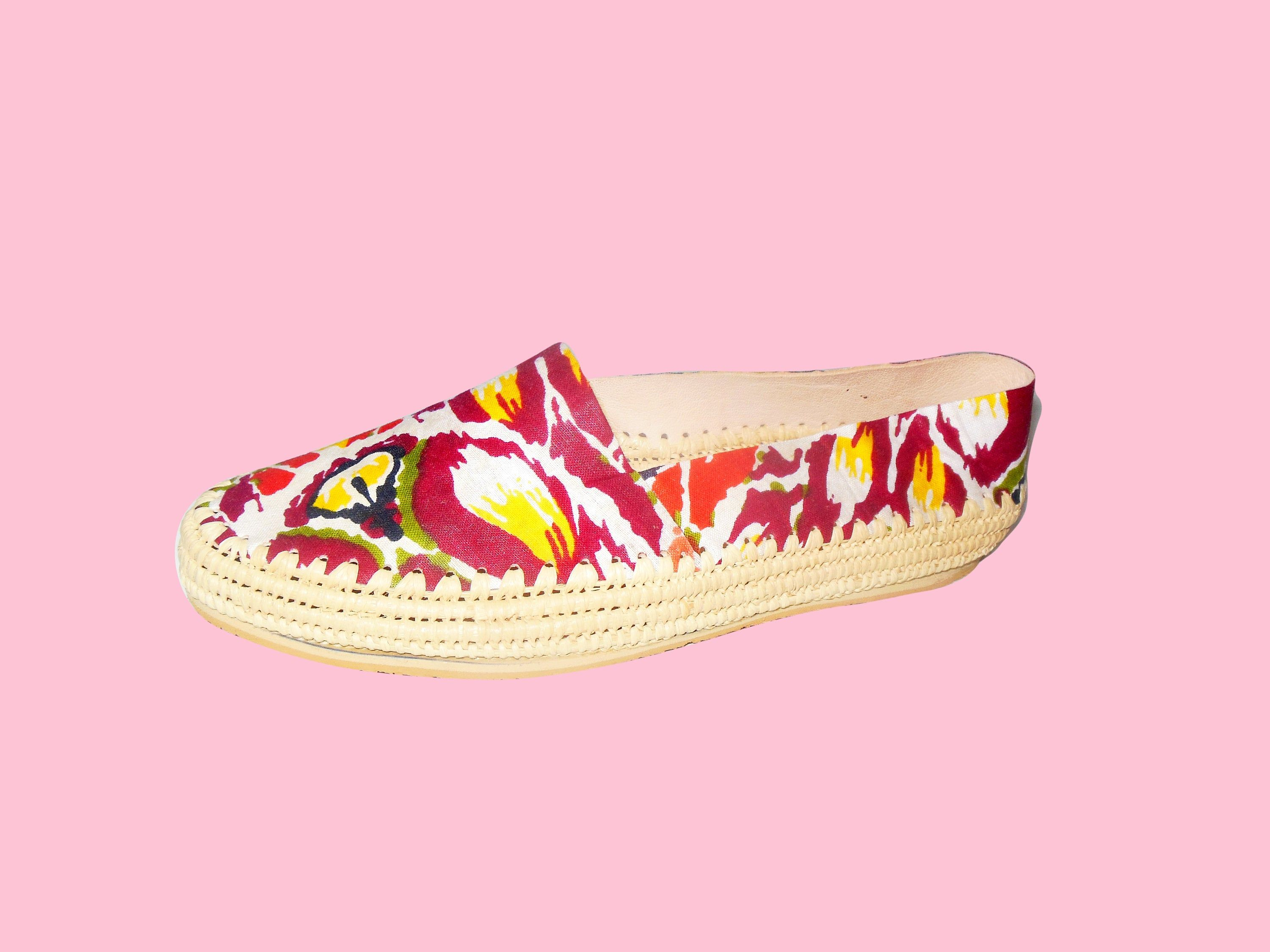 Excited To Share The Latest Addition To My Etsy Shop Unique Floral Pattern Raffia Flat Loafer For Women Handc Loafers For Women Fashion Slides Fashion Shoes