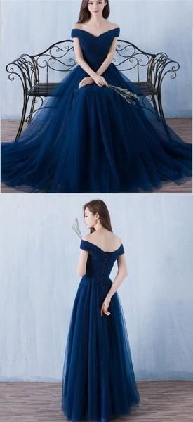e4bb16a3acb8 Long Off Shoulder Navy Blue Tulle Simple Popular Bridesmaid Dresses ...