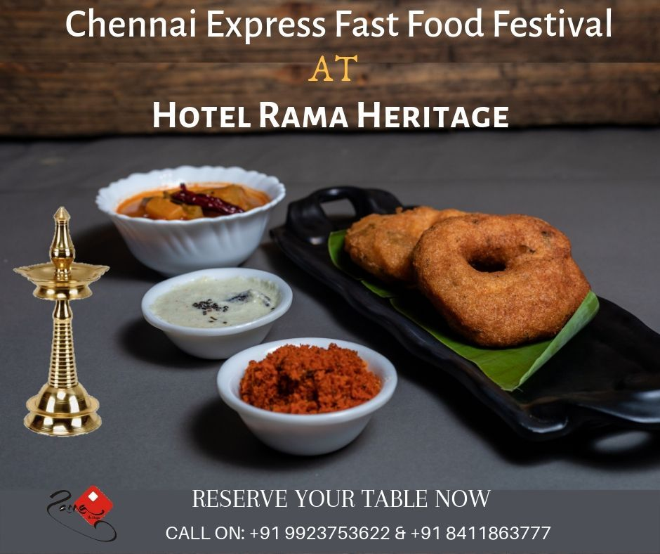 South Indian Cuisine Come and Enjoy the best of South Indian Cuisine at Hotel Rama Heritage. For Reservation Call on: 9923753622 & 8411863777 .