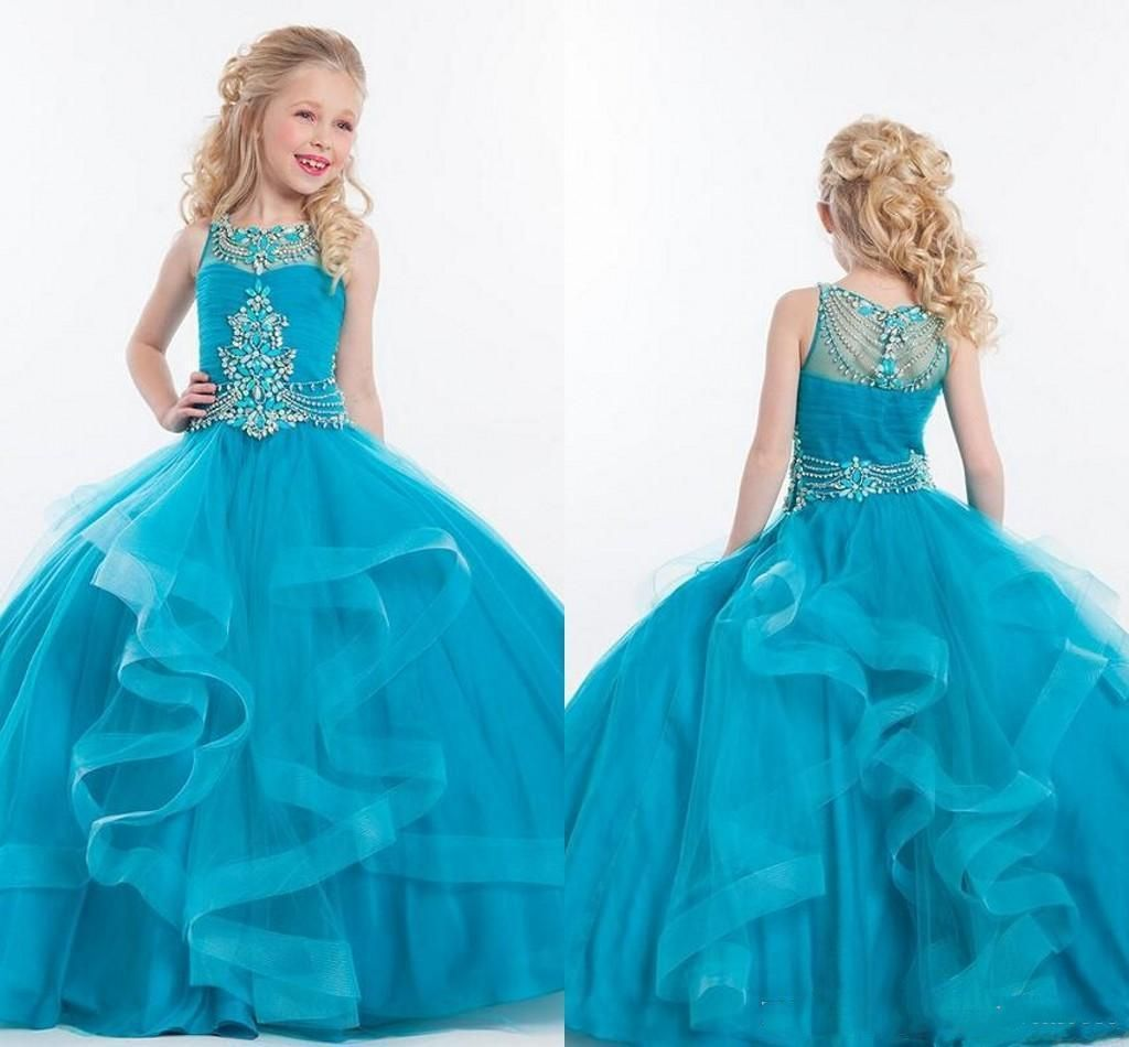 2016 Pageant Dresses For Teens With Beading Crystals Jewel Tiered ...