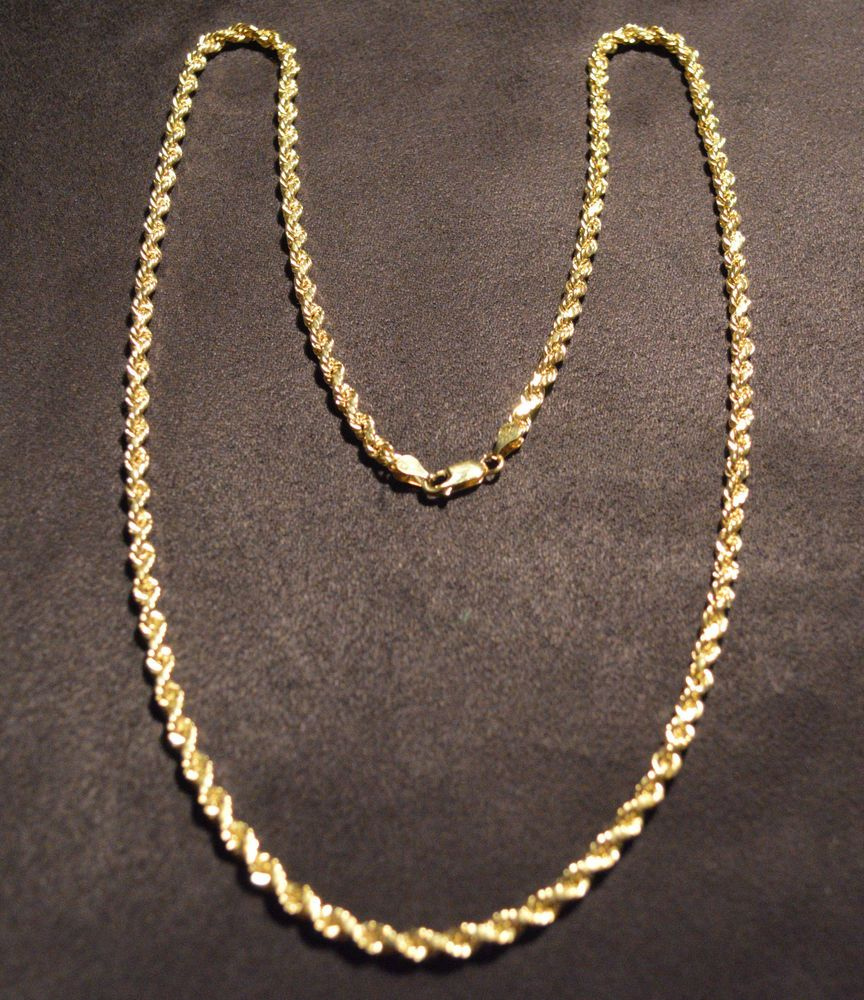 10k Solid Gold Large Rope Chain Necklace 26 Inch Extra Long Length Chain Chain Necklace Fine Gold Necklace Necklace