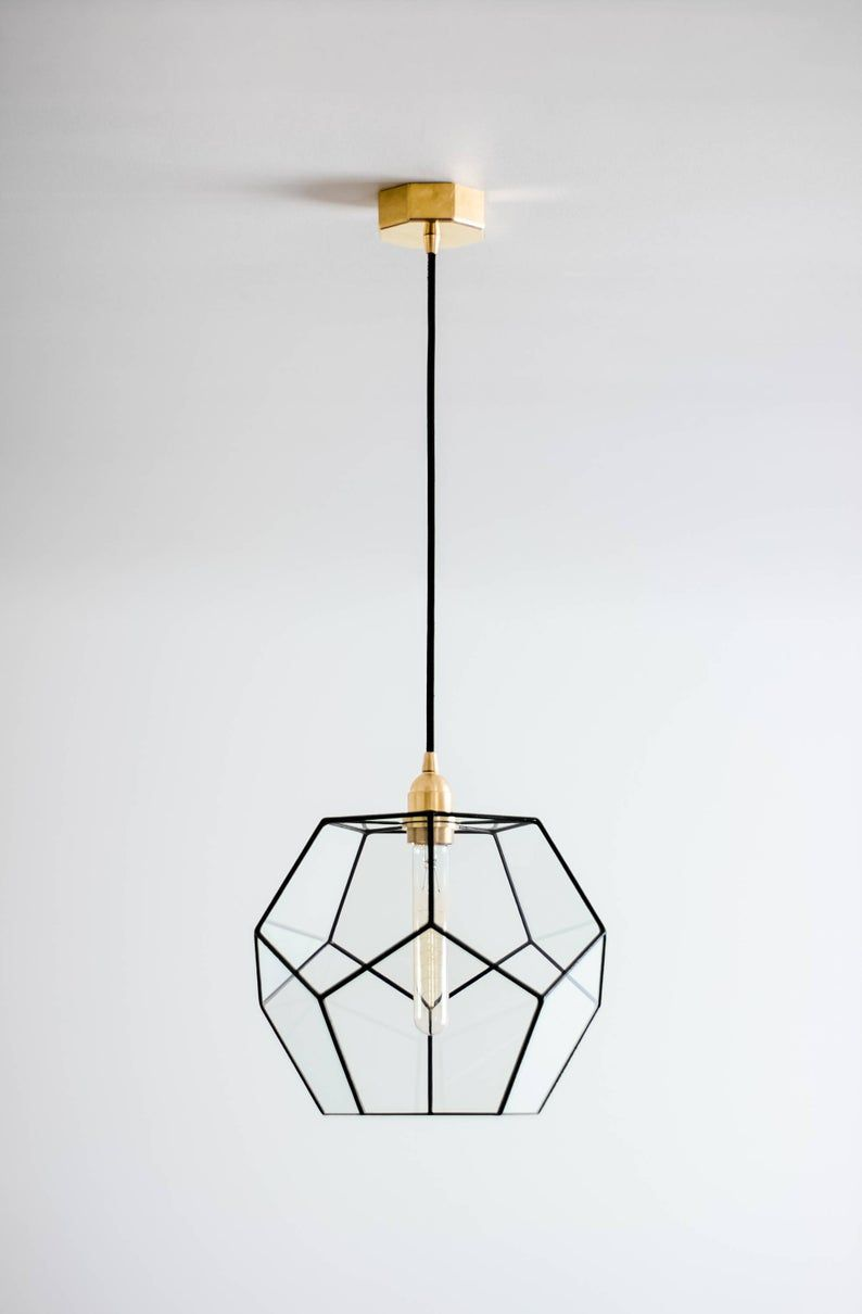 Dodecahedron Glass Chandelier Geometric Pendant Light Modern