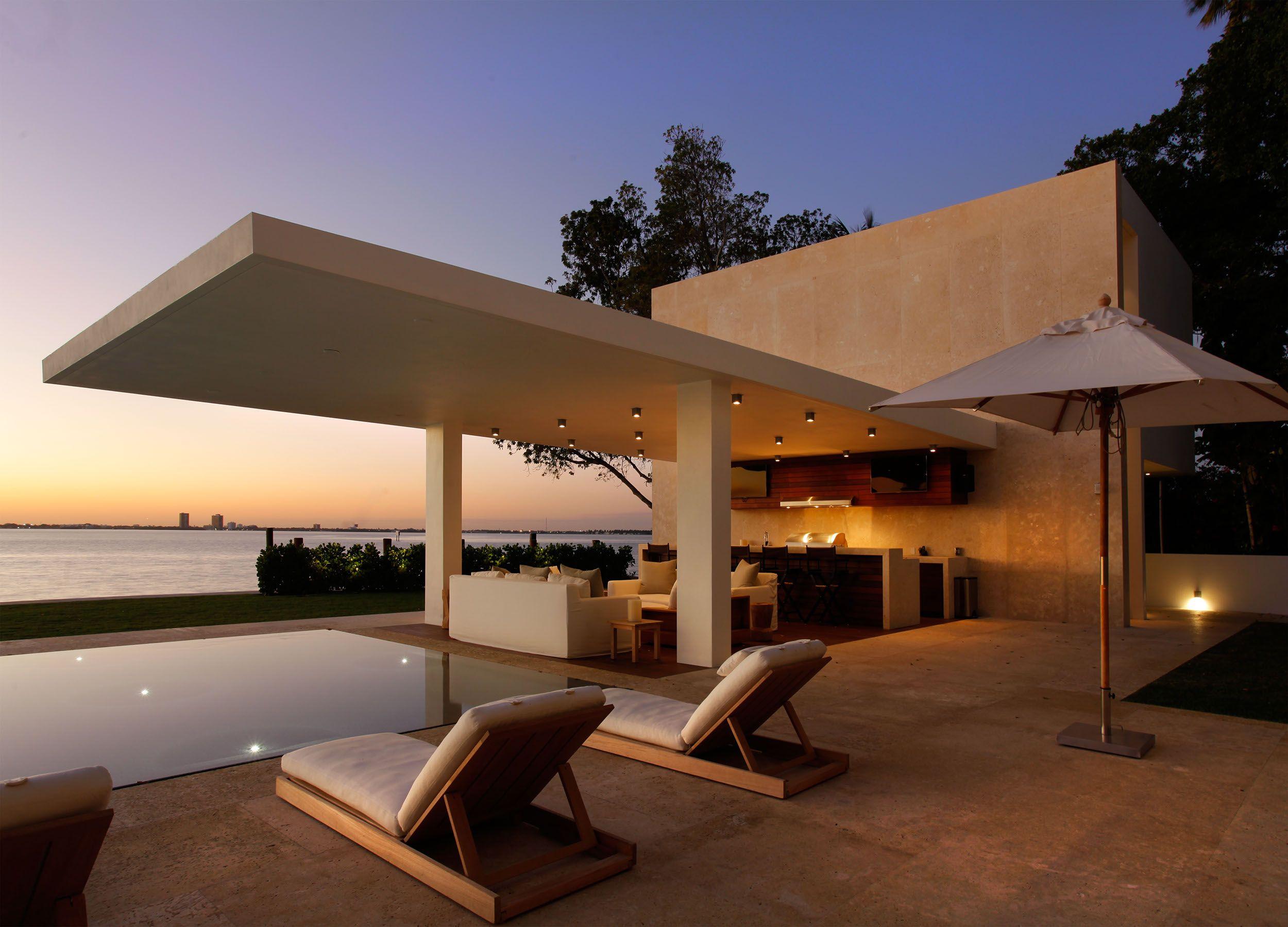 North Miami Beach Residence Opustone Natural Stone Interior Design Pool Patio Miami With Images Modern Outdoor Kitchen Outdoor Kitchen Design Residences