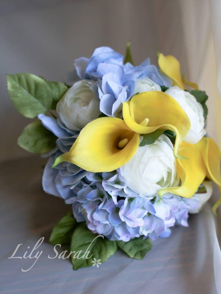Yellow calla lily and blue hydrangea silk flower bouquet www yellow calla lily and blue hydrangea silk flower bouquet lilysarah mightylinksfo Images
