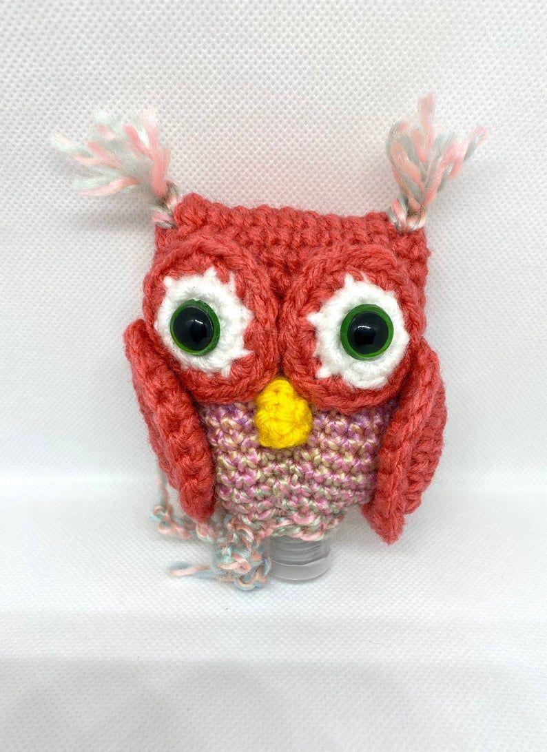 Crochet Owl Hand Sanitizer Holder Keychain Etsy Regalos