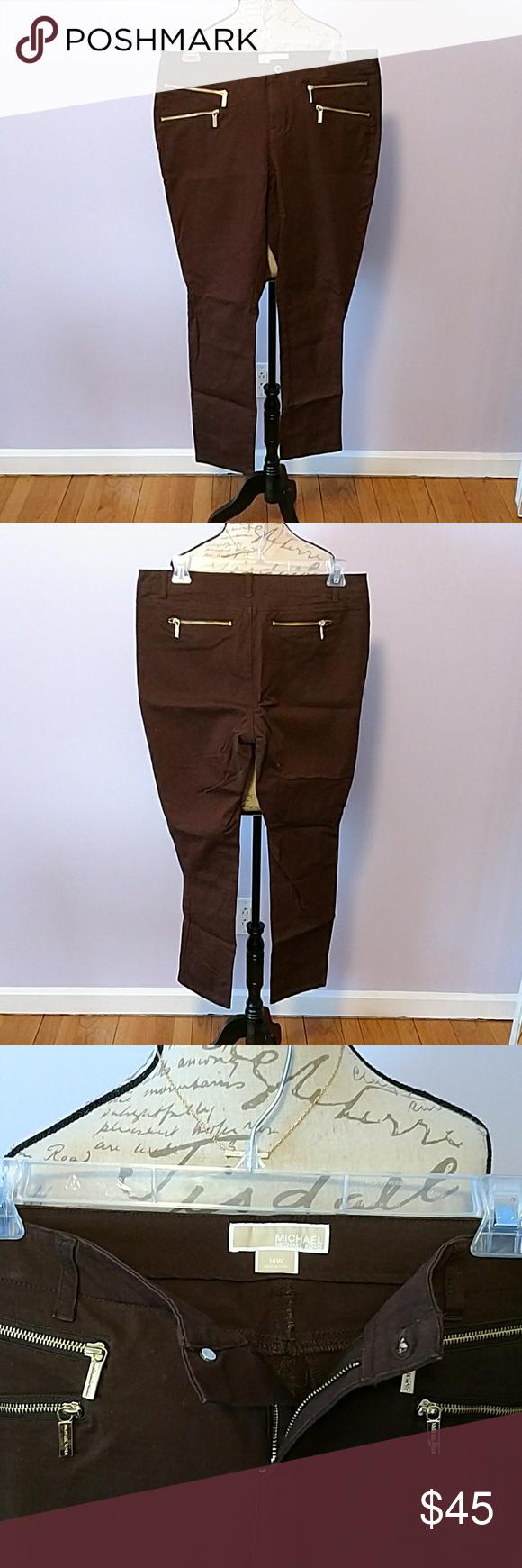 Michael Kors jeans size 14W Michael Kors brown denim, straight leg jeans, with gold accent zippers.  Brand new, no tags. MICHAEL Michael Kors Jeans Straight Leg