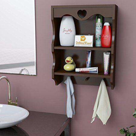2 tier wooden wall shelf