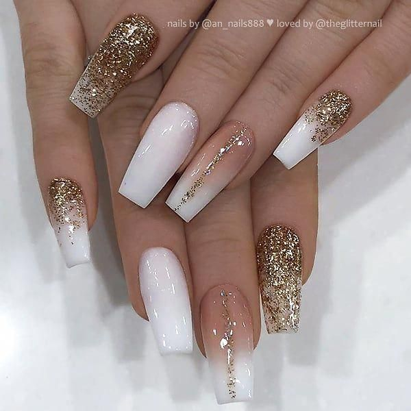 Theglitternail Get Inspired On Instagram White French Fade And Gold Glitter On Coffin Nails Gold Glitter Nails Gold Acrylic Nails Coffin Nails Designs