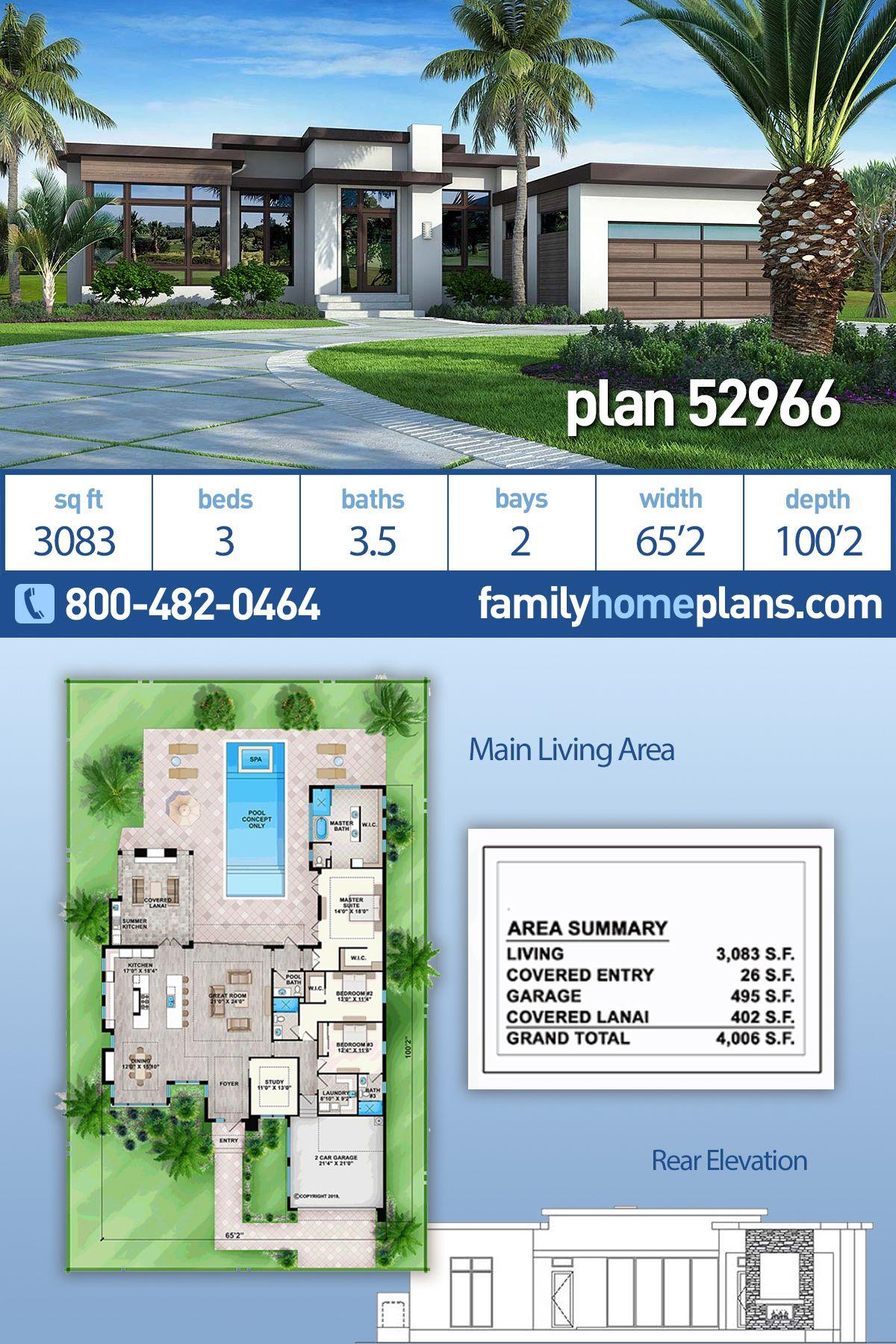 Contemporary Florida Modern Southwest House Plan 52966 With 3 Beds 4 Baths 2 Car Garage Contemporary House Plans Modern House Plans Beach House Plans