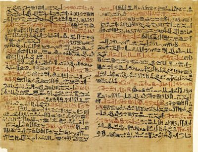Edwin Smith Papyrus  Dynasty 16-17 (ca. 1600 B.C.)  Thebes. Papyrus and ink. The text describes ancient Egyptian medical remedies, including: a treatment for a throat wound; a spell against mental and emotional disorders; and prescriptions for menstrual problems, rejuvenation and hemorrhoids. Courtesy of the Malloch Rare Book Room  of the New York Academy of Medicine
