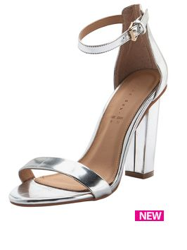 0805b044cea Shoe Box Daisy High Block Heeled Ankle Strap Sandals Silver £24