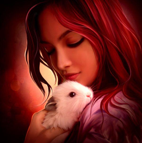 Бриллиантовая, рисованные девушки картинки на аватарку с животными