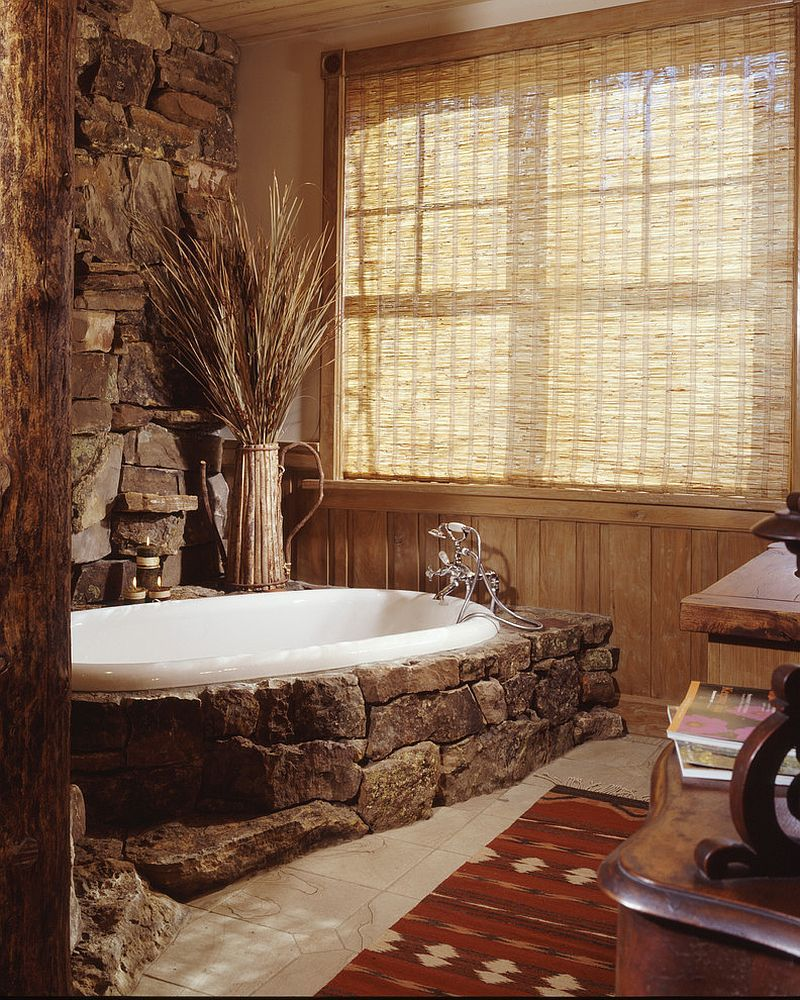 30 Exquisite And Inspired Bathrooms With Stone Walls: Moss Rock Around The Bathtub Makes A Cool Style Statement