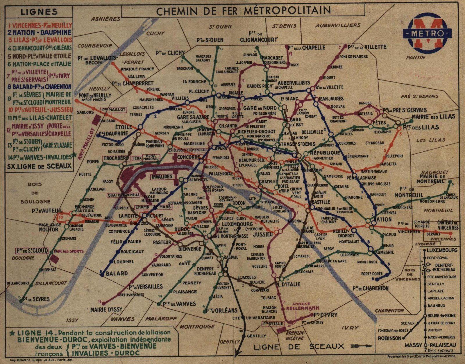 Paris metro Paris Mtro map 1937 Compared