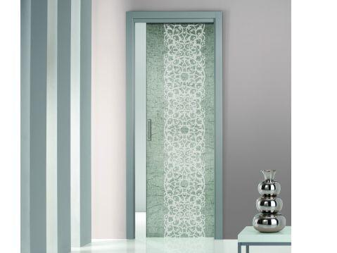 Puerta corrediza empotrada de vidrio esmerilado sin marco - Puertas correderas sin marco ...