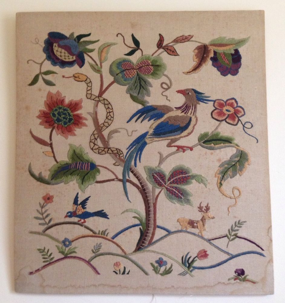 Vintage Tapestry Hand-Embroidered Panel. Tree Of Life Florals