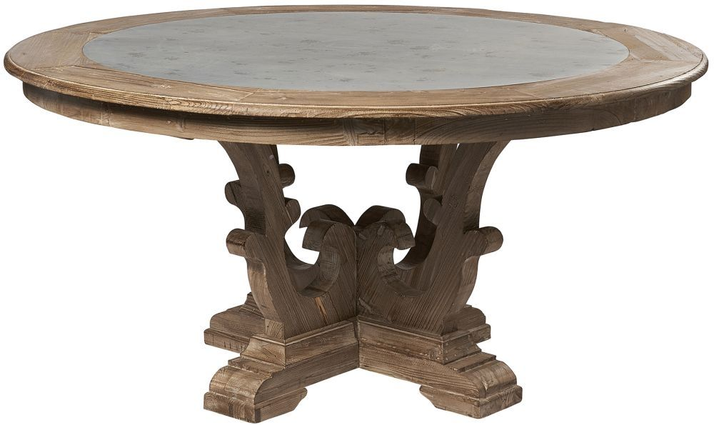 Asbury Reclaimed Pine Zinc Top Round Large Dining Table