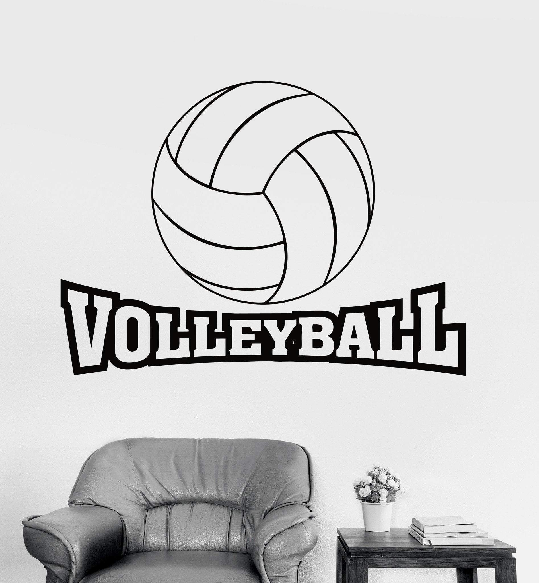 Wall Decal Sport Volleyball Ball Game Vinyl Sticker Unique Gift Z3236 Sports Wall Decals Wall Decals Volleyball
