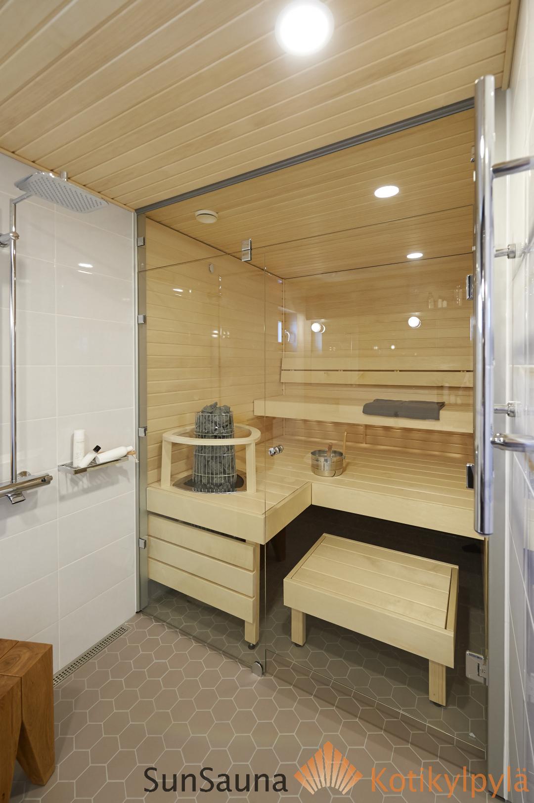Sauna Saunaville Www Saunaville Com: Sun Sauna Relax XL-mallisto, Haapa, Lasiseinä, Harvia Kivi